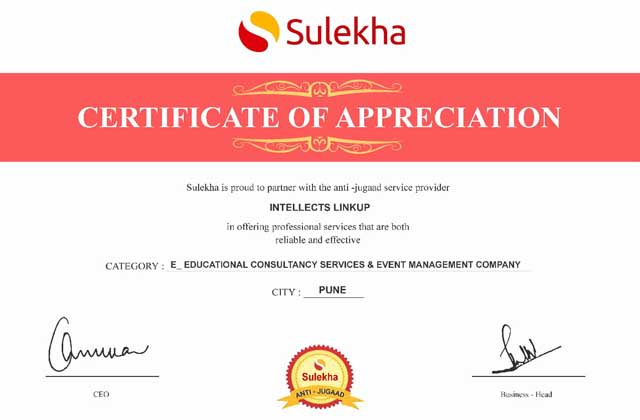 Sulekha Certificate of Intellects Linkup